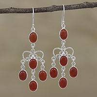 Carnelian chandelier earrings, 'Red-Orange Cascade' - Natural Carnelian Chandelier Earrings from India