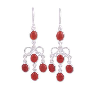 Carnelian chandelier earrings, 'Magnificent Cascade' - Natural Carnelian Chandelier Earrings from India