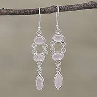 Rose quartz dangle earrings, 'Pink Bliss' - Handcrafted Rose Quartz Dangle Earrings from India