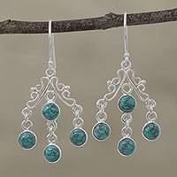 Sterling silver chandelier earrings, 'Wonderful Cascade' - Silver and Reconstituted Turquoise Chandelier Earrings