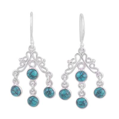 Silver and Reconstituted Turquoise Chandelier Earrings