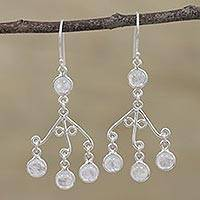 Rainbow moonstone chandelier earrings, 'Mystic Swing' - Rainbow Moonstone Chandelier Earrings from India
