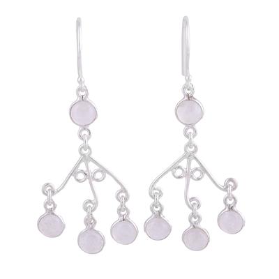 Rainbow moonstone chandelier earrings, 'Mystic Swing' - Rainbow Moonstone Chandelier Earrings from India