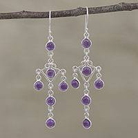 Amethyst chandlier earrings, 'Majestic Fantasy' - Amethyst and Silver Chandelier Earrings from India