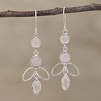 Rose quartz dangle earrings, 'Desirous Beauty' - Handcrafted Rose Quartz Dangle Earrings from India