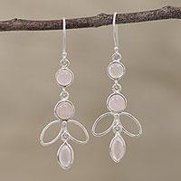 Rose quartz dangle earrings, 'Desirous Beauty' - Handcrafted Rose Quartz Dangle Earrings from India
