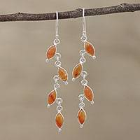 Carnelian dangle earrings, 'Fascinating Leaves' - Carnelian and Silver Linked Dangle Earrings from India
