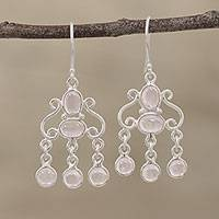 Rose quartz chandelier earrings, 'Fanciful Swirls' - Handcrafted Rose Quartz Chandelier Earrings from India