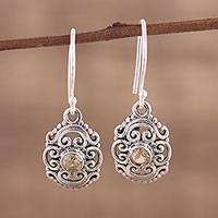 Citrine dangle earrings, 'Sunny Swirls' - Openwork Citrine and Silver Dangle Earrings from India