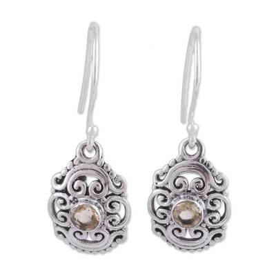 Openwork Citrine and Silver Dangle Earrings from India