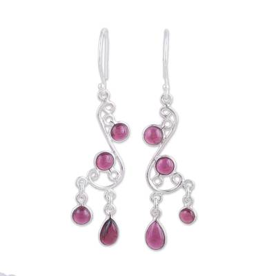 Garnet chandelier earrings, 'Windy Dance' - Garnet and Silver Swirling Chandelier Earrings from India