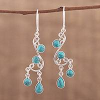 Sterling silver chandelier earrings, 'Windy Dance' - Sterling Silver Swirling Chandelier Earrings from India