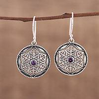 Amethyst dangle earrings, 'Untouched Beauty' - Amethyst and Silver Floral Dangle Earrings form India