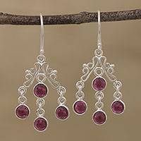 Garnet chandelier earrings, 'Wonderful Cascade' - Natural Garnet Chandelier Earrings from India