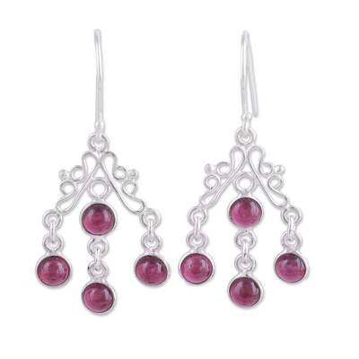 Garnet chandelier earrings, 'Wonderful Cascade' - Natural Garnet Chandelier Earrings from India