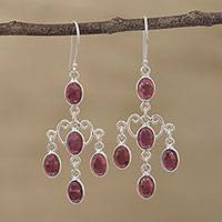 Garnet chandelier earrings, 'Majestic Cascade' - Oval Garnet Chandelier Earrings from India