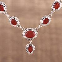 Carnelian pendant necklace, 'Magnificent Fire' - Handmade Natural Carnelian Link Pendant Necklace from India