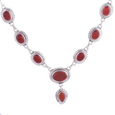 Carnelian pendant necklace, 'Magnificent Fire' - Handmade Natural Carnelian Link Pendant Necklace from India