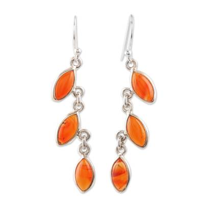 Carnelian and Silver Linked Dangle Earrings from India