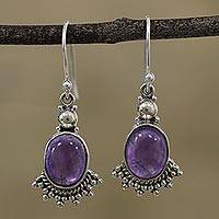 Amethyst dangle earrings, 'Gleaming Fans' - Fan-Shaped Purple Amethyst Dangle Earrings from India