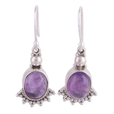 Amethyst dangle earrings, 'Gleaming Fans' - Fan-Shaped Purple Amethyst Dangle Earrings from India