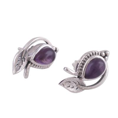 Amethyst button earrings, 'Leafy Drops' - Amethyst Leaf-Shaped Button Earrings from India