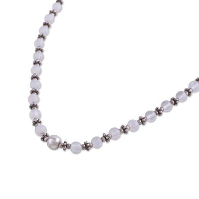 Rainbow moonstone beaded necklace, 'Transcendent Beauty' - Rainbow Moonstone and Sterling Silver Beaded Necklace