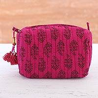 Cotton cosmetic bag, 'Sensible Cerise' - Floral Cotton Cosmetic Bag in Cerise from India