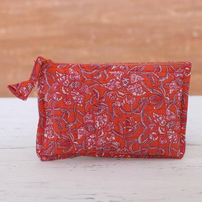 Cotton cosmetic pouch, 'Floral Excitement' - Floral Cotton Cosmetic Pouch in Strawberry from India