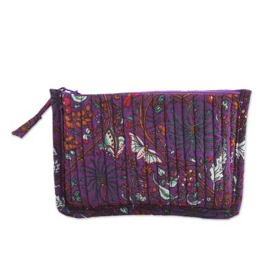 Novica Cotton cosmetic bag, Viridian Garden
