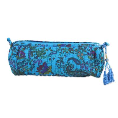 Novica Cotton cosmetic bag, Sky Blue Paisleys