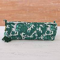 Cotton cosmetic bag, 'Viridian Garden' - Floral Cotton Cosmetic Bag in Viridian from India