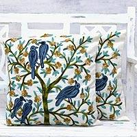 Cotton cushion covers, 'Nature's Delight' (pair) - Cotton Aari Embroidery Cushion Covers (Pair) from India