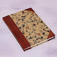 Leather accent jute journal, 'Flowering Memories' - Handcrafted Floral Leather Accent Jute Journal from India