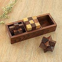 Wood puzzles, 'Challenging Trio' (set of 3) - Handcrafted Wood Puzzles (Set of 3) from India