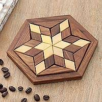 Wood puzzle, 'Rhombus Star' - Handcrafted Star-Shaped Wood Puzzle from India