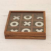 Wood and aluminum tic-tac-toe game, 'Silver Strategy' (7 inch) - Handmade Wood and Aluminum Tic Tac Toe Game (7 Inch)