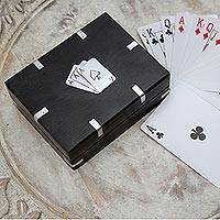 Card deck with wood box, 'Family Fun' - Card Deck with Handcrafted Wood Box from India