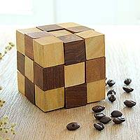 Wood puzzle, 'Test Your Mind' - Handcrafted Cube-Shaped Wood Puzzle from India