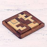 Wood puzzle, 'Mental Challenge' - Handcrafted Wood Puzzle in Brown and Beige from India