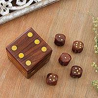 Wood dice set, 'Game of Chance' (set of 5) - Wood Dice Set with Matching Box from India