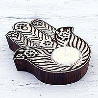 Wood tealight holder, 'Floral Hamsa' - Handcrafted Floral Wood Hamsa Tealight Holder from India