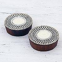 Wood tealight holders, 'Circular Flame' (pair) - Two Handcrafted Circular Wood Tealight Holders from India