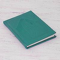 Leather journal, 'Emerald Leaf' - Handcrafted Leather Journal in Emerald from India