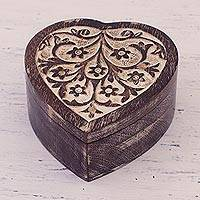 Wood decorative box, 'Flower-Filled Heart' - Floral Heart-Shaped Mango Wood Decorative Box from India
