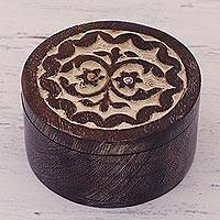 Wood decorative box, 'Floral Keepsake' - Handcrafted Floral Circular Wood Decorative Box from India