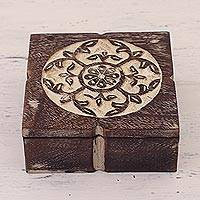 Wood decorative box, 'Majestic Symphony' - Handmade Floral Square Mango Wood Decorative Box from India