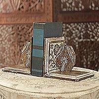 Mango wood bookends, 'Knowledge Holder' - Hand Carved Floral Mango Wood Bookends from India