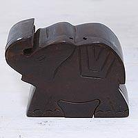 Wood puzzle box, 'Regal Baby Elephant' - Hand-Carved Mango Wood Elephant Puzzle Box from India