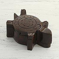 Wood puzzle box, 'Flower Turtle' - Hand-Carved Mango Wood Turtle Puzzle Box from India